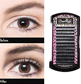 DEMI QUEEN 100% Real Mink Individual Eyelashes Extensions Natural Volume Eye Lash Salon Use Mix Tray 8mm-14mm Thickness (J Curl)