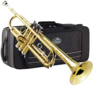 Eastrock Gold Trumpet Brass Standard Bb Trumpet Set for Beginner, Student with Hard Case, Gloves, 7C Mouthpiece, Trumpet Cleaning Kit-Lacquer Gold