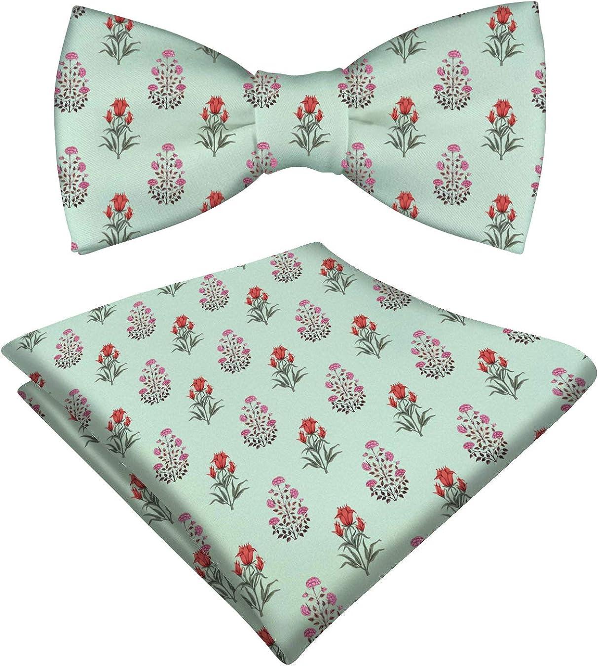 RADANYA Satin Bow Tie Floral Printed With Pocket Square Hanky