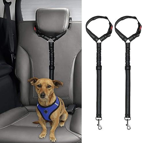 BWOGUE 2 Packs Dog Cat Safety Seat Belt Strap Car Headrest Restraint Adjustable Nylon Fabric Reflective Elastic Bunge...