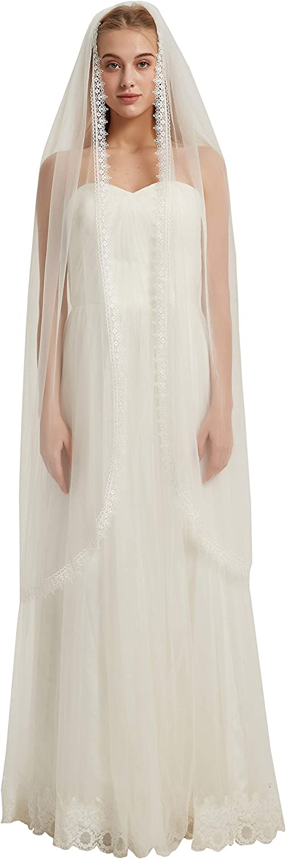 1 Tier Wedding Veil with Comb Bridal Veil Lace Applique B02