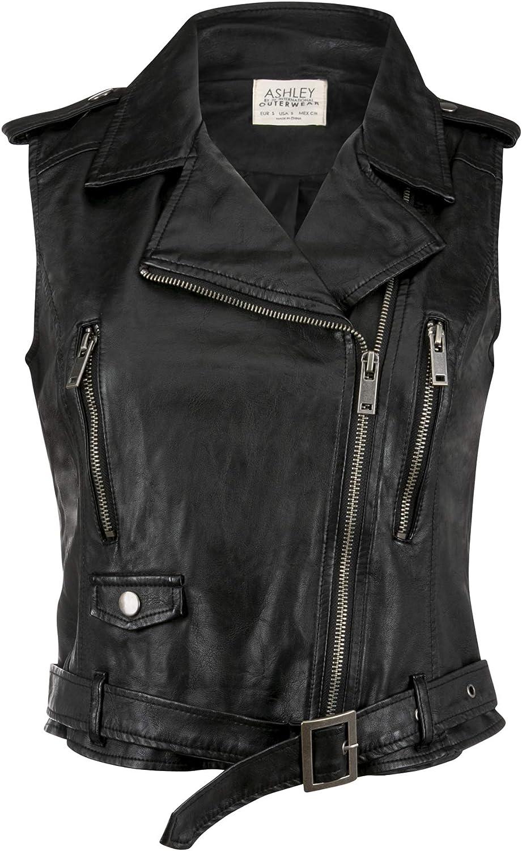 Women's Black Faux Leather Moto Biker Vest Sleeveless Jacket Short Coat