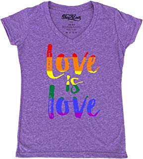 Love is Love Women's V-Neck T-Shirt Gay Pride Shirts Slim FIT