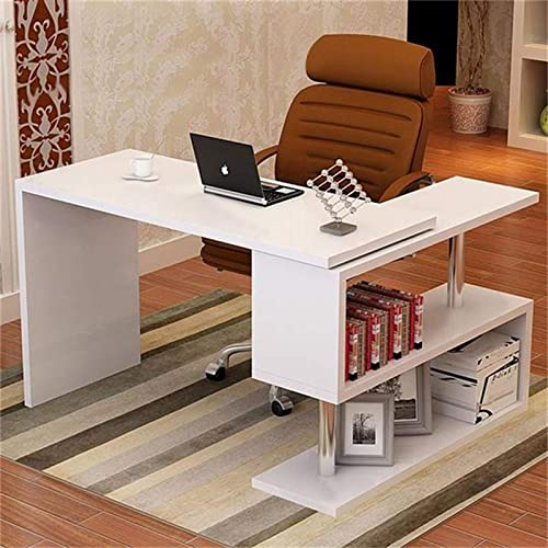 "popular L-Shaped Rotating Desk Swivel Corner outlet sale Computer Desk 40"" Rotatable Writing Table Workstation W/Storage new arrival Bookshelves for Home Office sale"