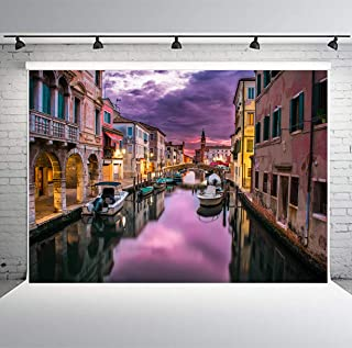 PHMOJEN 7x5ft Venice Water City Backdrop Photography Beautiful Night View Background Video Studio Televison Photo Props GEPH021