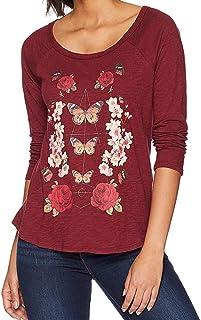 Lucky Brand Women's BUTTERFLY FLORAL PRINT TEE T-Shirt