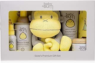 Baby Bum Duke's Premium Gift Set - Shampoo and Wash - Everyday Lotion Natural Monoi Coconut Balm - Hand Sanitizer - Big Duke Stuffed Toy