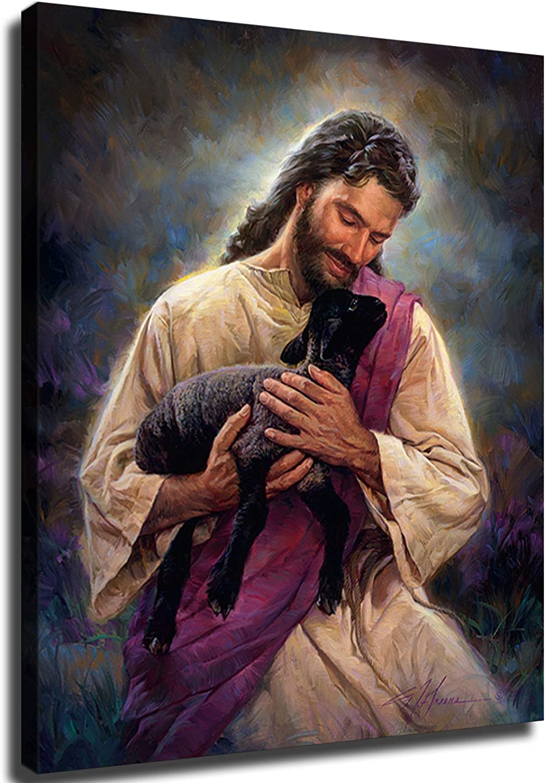 Jesus Holding Black Lamb Poster f Decorations 新色追加 上質 Home Art Wall