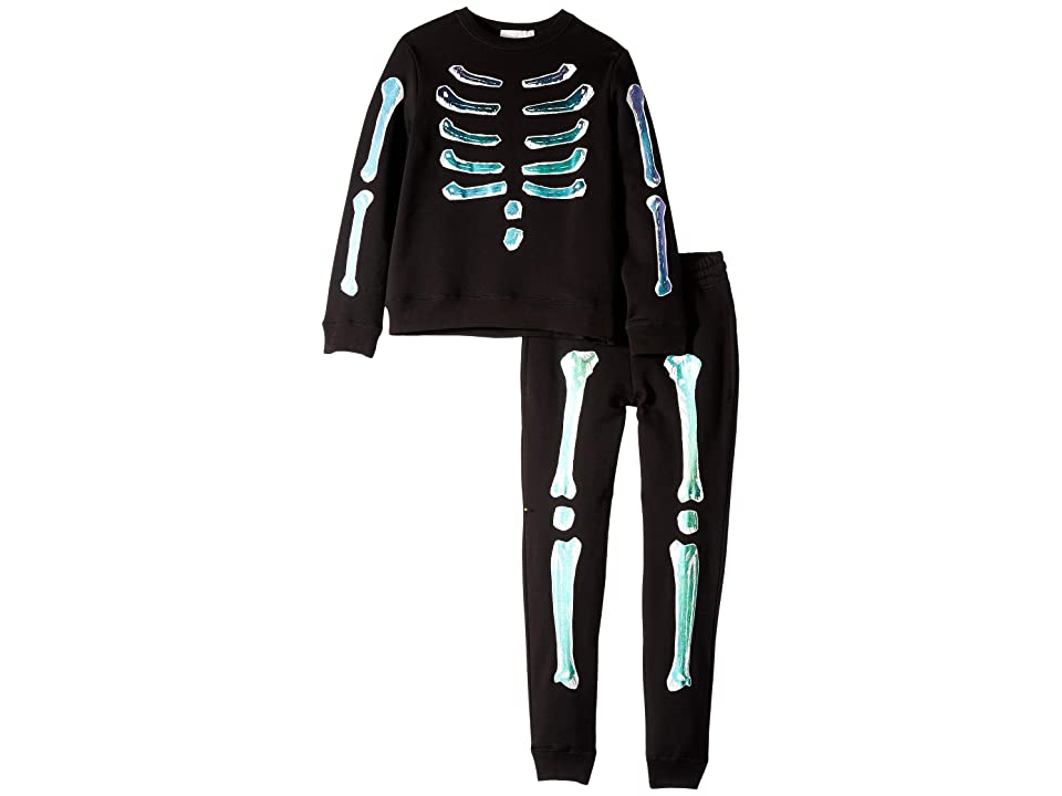 Stella McCartney Kids Biz + Zachary Holographic Bones Fleece Sweater and Jogger Set (Toddler/Little Kids/Big Kids) (Black) Boy