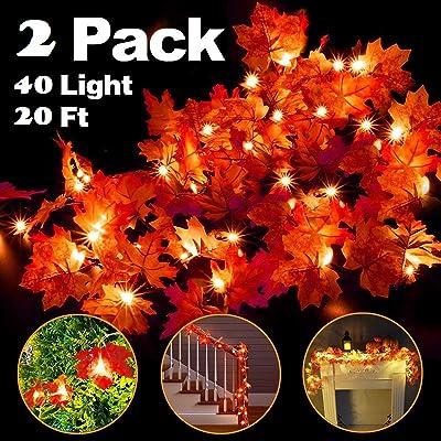 JX Maple Leaf String Lights Waterproof Seasonal...
