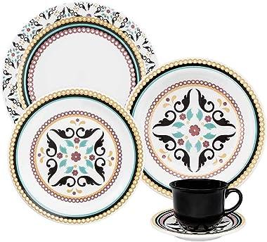 1 Aparelho de Jantar e Chá 30 Peças Oxford Daily Floreal Luiza Multicor
