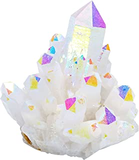 Jovivi Irregular Natural Titanium Coated Crystal Quartz Cluster Drusy Geode Specimen Decor- 0.28lb to 0.35lb (AB Color)