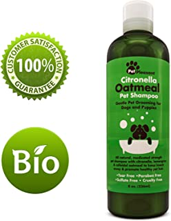 Oatmeal Dog Shampoo with Citronella Bug Repellant Oil for Itchy Skin – Best Tearless Puppy Shampoo & Conditioner – All Natural Dog Shampoo for Sensitive Skin – Medicated Strength Pet Deodorizer