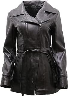 Women's Black, Brown, Tan Nappa Leather Long Biker Jacket with Belt
