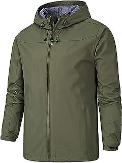 AIEOE Men's Windproof Jacket Lightweight Comfortable Coat Solid Color for Men