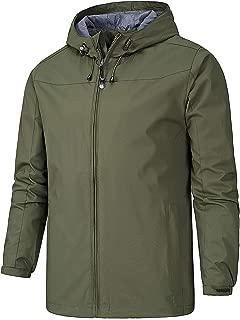 AIEOE Men's Waterproof Windproof Hiking Jacket Comfortable Outdoor Solid Color Coat for Men