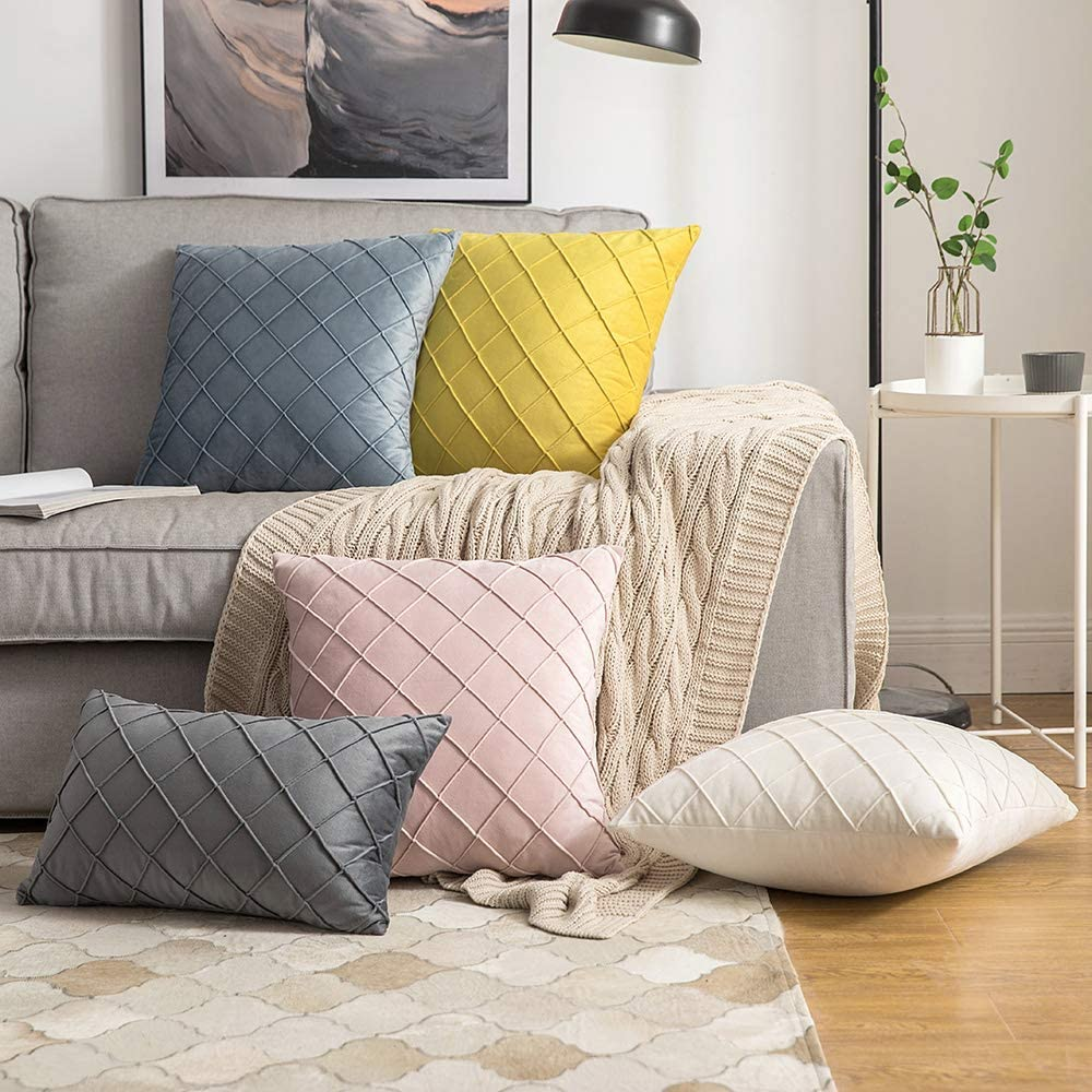 MIULEE Pack of 2 Velvet Cushion Cover Square Pattern Decorative Throw Pillow Cover Super Soft for Living Room Bedroom Sofa Gold 30 x 50 cm 12 x 20 Inch