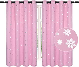 Rutterllow Kids Silver Snowflake Blackout Curtains for...