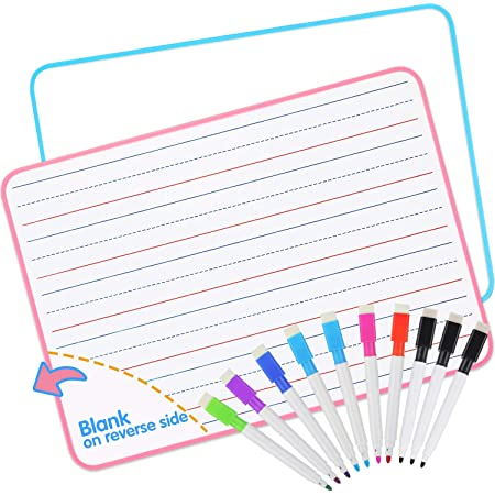 Dry Erase Board, Small White Board with 10 Markers for Students Learning Writing, Double Sided Lapboard (9 X 12 Inch), 2 Pack by AGPTEK