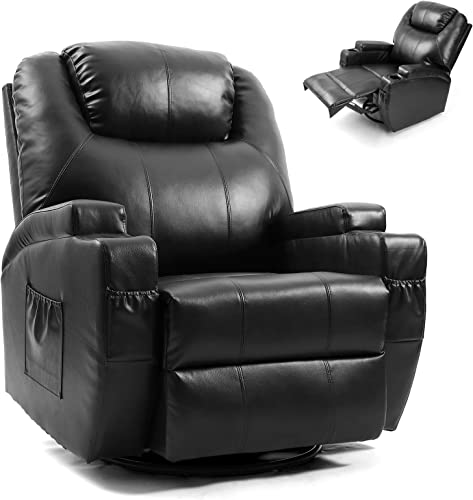 Artist Hand Massage Recliner Chair with Cup Holder Electric Heated Living Room Chair Bedroom Sofa Reading Chair (Black)