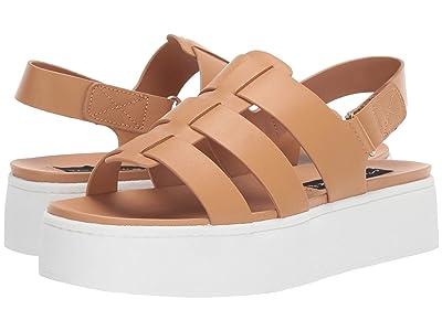 Steven Ginny Wedge Sandal (Tan Leather) Women