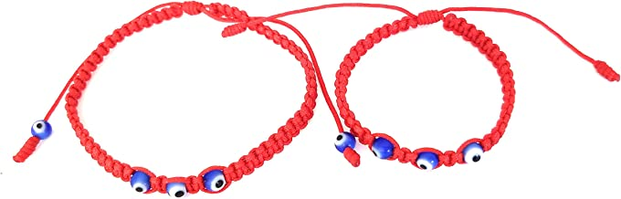 Lucky Charms USA Mommy and Me Evil Eye Red String Bracelet for Protection with 3 Small Blue Eyes, Mal De Ojo, Set of 2
