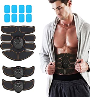JoJoMooN Muscle Toner Abdominal Toning Belt ABS Muscle Trainer Wireless Portable Unisex Fitness Training Gear for Abdomen/Arm/Leg Training Home Office Exercise Equipment