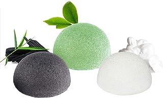 Konjac gąbka do twarzy (zestaw 3 sztuk), gąbki Konjac do czyszczenia i peelingu głębokich porów, 100% naturalny węgiel bam...