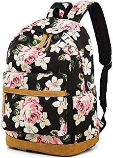 Casual Laptop Backpack Canvas Travel Daypack School Bag Bookbags for Teen Girls and Women (Big-Flower)