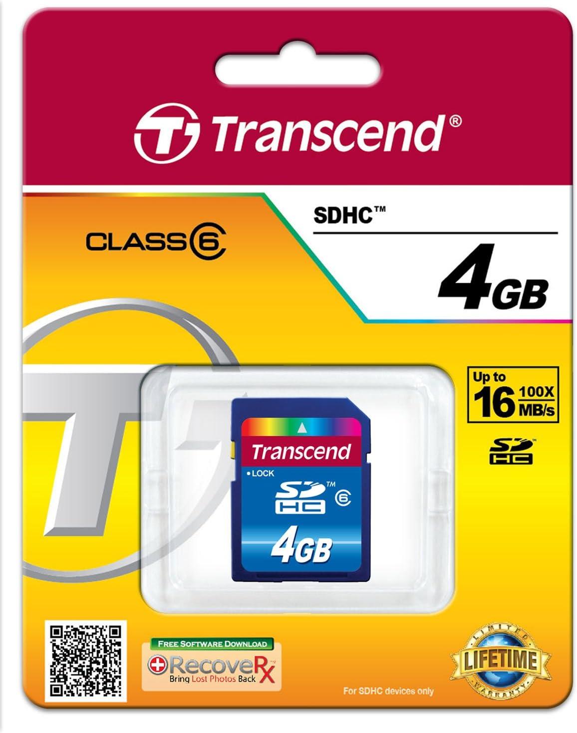 Transcend 4 GB Class 6 SDHC Flash Memory Card TS4GSDHC6