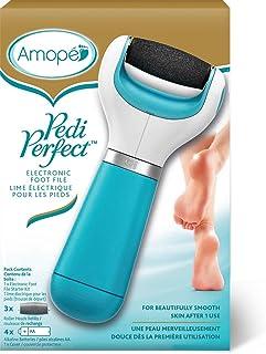 Amope Pedi Perfect Electronic Foot File With 3 BONUS Refill Roller Heads - Regular Coarse, Blue 1 ea