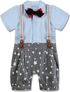 A&J DESIGN Baby Boys' Gentleman Bowtie Romper Overall Surspender