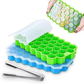MELLIEX Bac à Glaçons, 2 Paquets de 74 Cubes Moule à Glaçons en Silicone à Démoulage Facile avec Couvercle pour Aliments p...