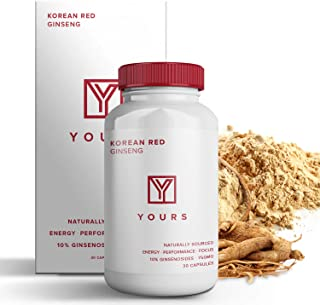 Authentic Korean Red Panax Ginseng - 10% Ginsenosides - Organic 750mg Korean Red Ginseng Vegan Capsules - 30 Day Supply - Potent Red Ginseng Boosts Energy & Focus - Korean Ginseng Amplifies Cognition