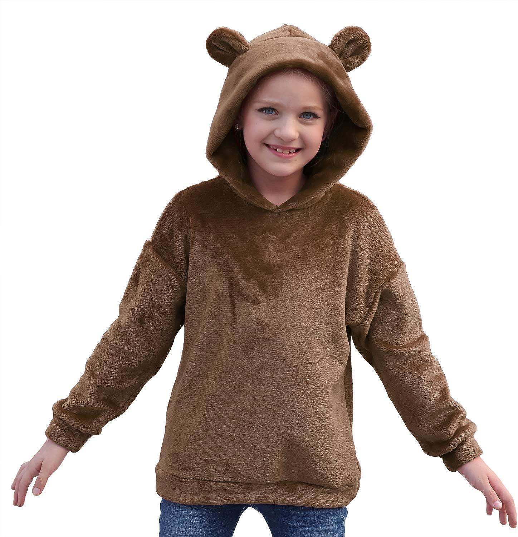 GORLYA Girls Long San Francisco Mall Sleeve Casual Bear Super beauty product restock quality top! Cute Sweatshir Hooded Teddy