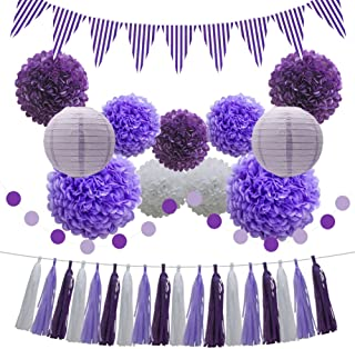 Purple Hanging Party Decoration Supplies Set - Paper Lanterns Tissue Pom Poms Flowers Tassels Hanging Garland Circle Banner Triangle Flag Bunting for Baby Birthday Bridal Shower School