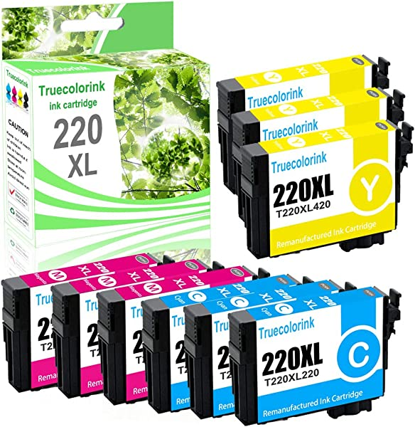 Truecolorink Remanufactured Ink Cartridge Replacement For Epson 220 220XL T220XL To Use With Workforce WF 2760 WF 2750 WF 2630 WF 2650 WF 2660 XP 320 XP 420 XP 424 3Cyan 3Magenta 3Yellow 9 Pack