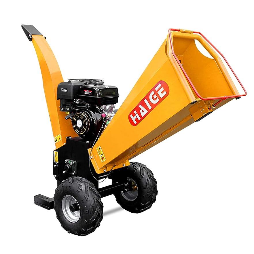 ハチ発掘する役に立たないHAIGE ウッドチッパー 業務用 粉砕機 二枚刃 エンジン式 4サイクル 15馬力 HG-15HP-GGS 【西濃】