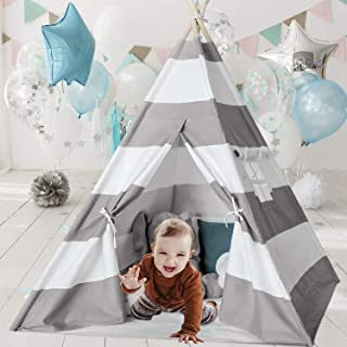 Ukadou Kids-Teepee-Tent-for-Kids-Teepee-Playhouse for Boys and Girls Children's Canvas Baby Tent tpee 6ft Grey Stripe Tepees Toddler Tent with Floor &Carry case(Upgrade )