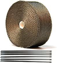 Hiwowsport 2'' x 50' Lava Titanium Exhaust Wrap Heat Shield of Twill Weave for Auto Manifold With 6pcs Locking Ties