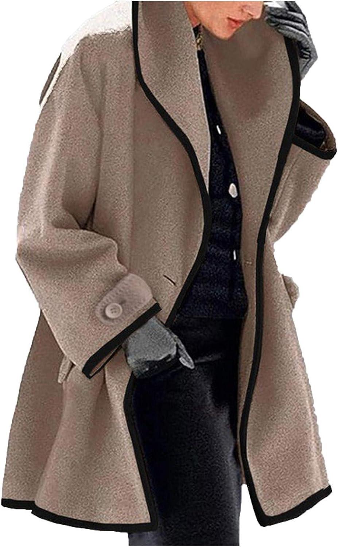 VEKDONE Women's Lapel Open Front Wrap Wool Coat Classic Trench Wool Blend Pea Coat Warm Winter Long Jackets Overcoat Outwear