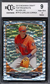 2013 Bowman Draft TP Silver Ice #TP10 Carlos Correa Rookie Card Graded BCCG 9