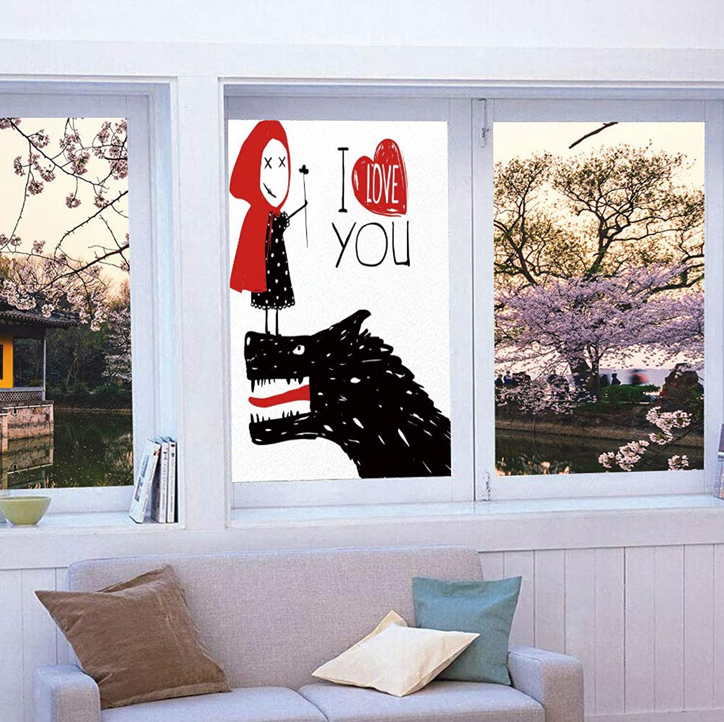 YOLIYANA Static Cling Decorative Window Film,Quirky Decor,Suitable for Kitchen, Bedroom, Living Room,Little Red Riding Hood Loves Bad Horrible Wolf,24''x36''