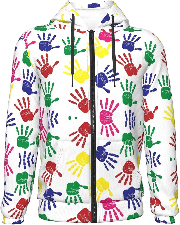 Colorful Handprints Autism Awareness women Hoodies Fashion Zipper Sweatshirts for Boys Girls Sweate Hooded