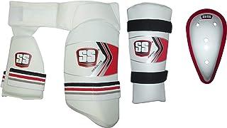 SS Cricket Aerolite Pro Thigh Guard (2 in 1), Match Arm Guard, Abdominal Guard - Men's Size (White Color)