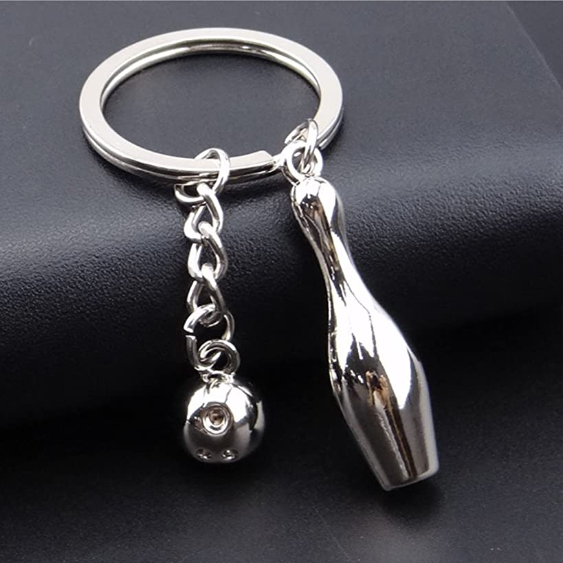 Bowling Pin Bowl with Ball Keychain Pendant Made of Metal