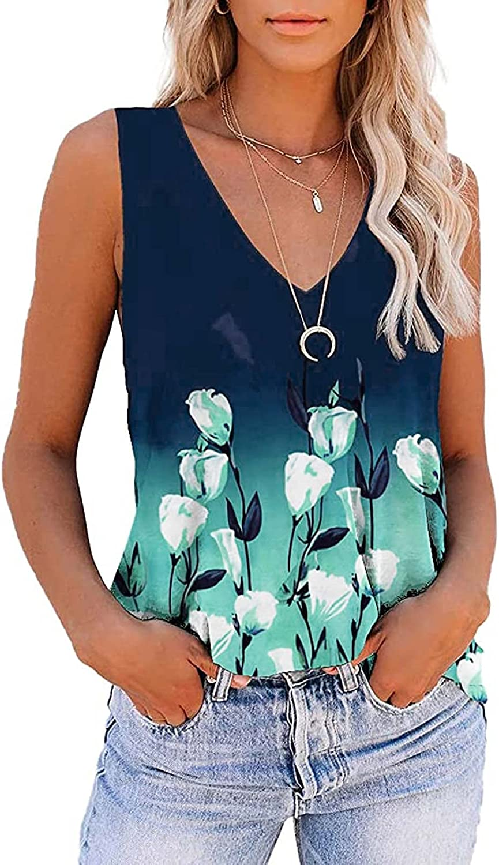 Tank Tops for Women,Womens Sunflower Tank Tops Casual Sleeveless Tunic Tee Criss Cross Loose Vest Blouses