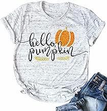 Halloween Pumpkin Costume Funny Tees Women's Letters Print Short Sleeve T-Shirt Tops
