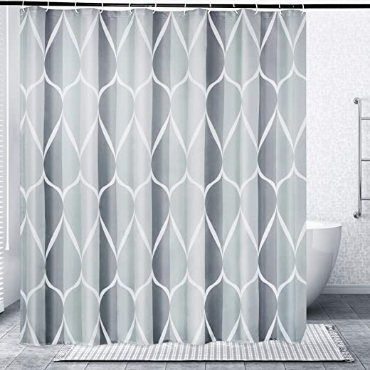 Gelbchu Grey Fabric Shower Curtain, Waterproof Design and Polyester, Quick-Drying, Weighted Hem, Shower Curtains Set for Bathroom 72x72, Durable and Washable with 12 Hooks