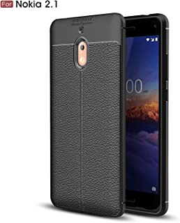 Nokia 2.1 Case, Cruzerlite Flexible Slim Case with Leather Texture Grip Pattern and Shock Absorption Cover for Nokia 2.1 Nokia21-PAT